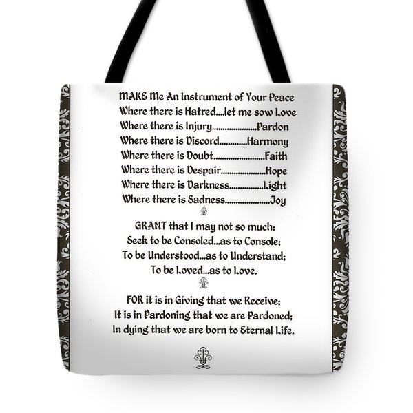 Pope Francis St. Francis Simple Prayer Filigreefaith Tote Bag by Desiderata Gallery