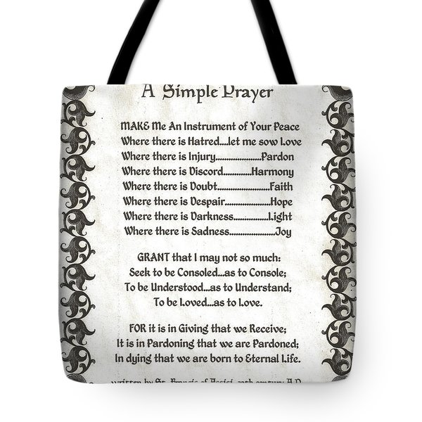 Pope Francis St. Francis Simple Prayer Fleury Of Faith Tote Bag by Desiderata Gallery