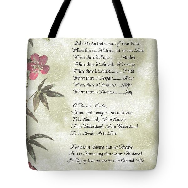 Pope Francis St. Francis Simple Prayerbutterfly On Bamboo Tote Bag by Desiderata Gallery