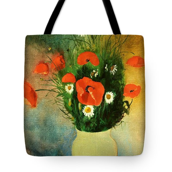 Poppies And Daisies Tote Bag by Odilon Redon