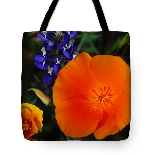 Poppies And Lupine Tote Bag by Lynn Bauer