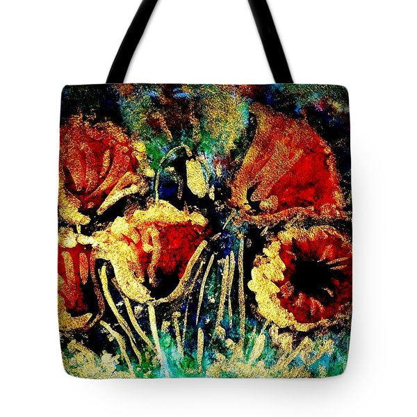Poppies In Gold Tote Bag by Zaira Dzhaubaeva