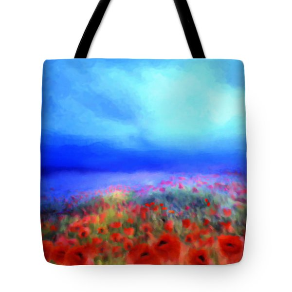 Poppies In The Mist Tote Bag by Valerie Anne Kelly