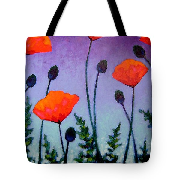 Poppies In The Sky II Tote Bag by John  Nolan