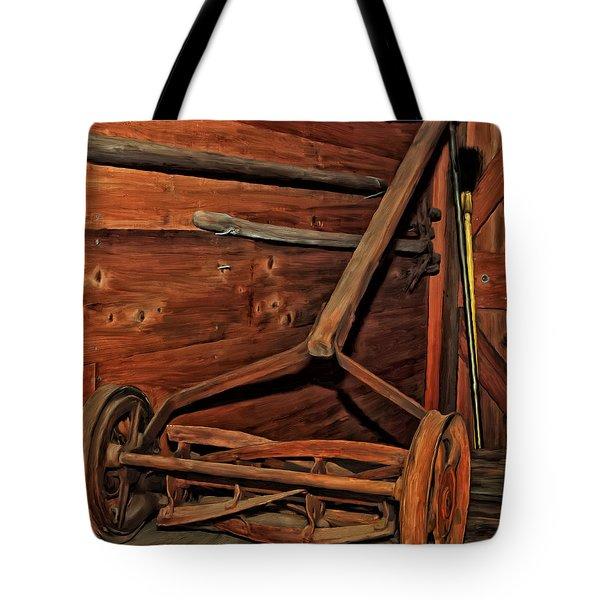 Pop's Old Mower Tote Bag by Michael Pickett
