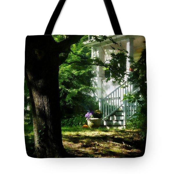 Porch With Pot Of Chrysanthemums Tote Bag by Susan Savad
