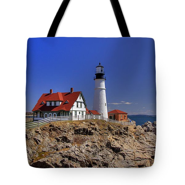 Portland Head Light 3 Tote Bag by Joann Vitali