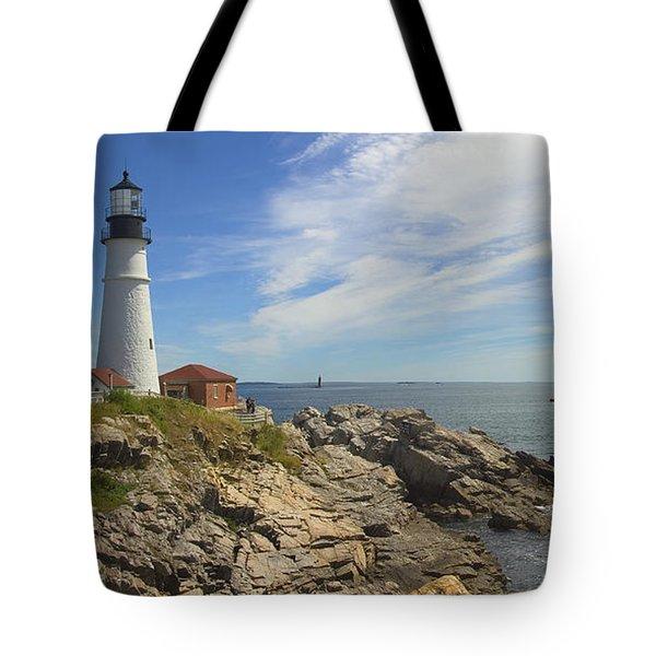 Portland Head Lighthouse Panoramic Tote Bag by Mike McGlothlen
