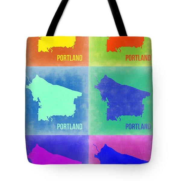 Portland Pop Art Map 3 Tote Bag by Naxart Studio