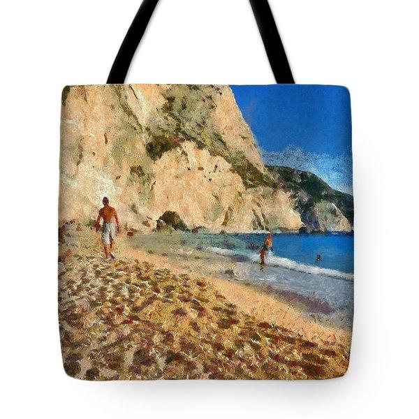 Porto Katsiki Beach In Lefkada Island Tote Bag by George Atsametakis