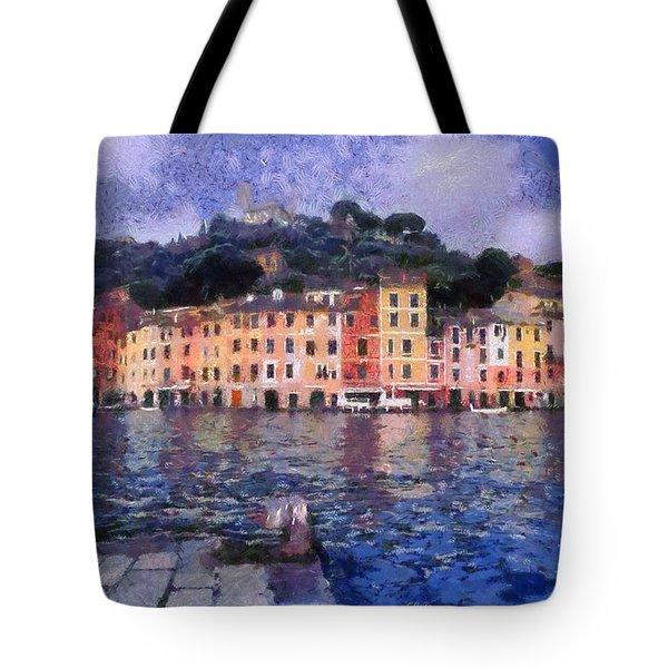 Portofino In Italy Tote Bag by George Atsametakis