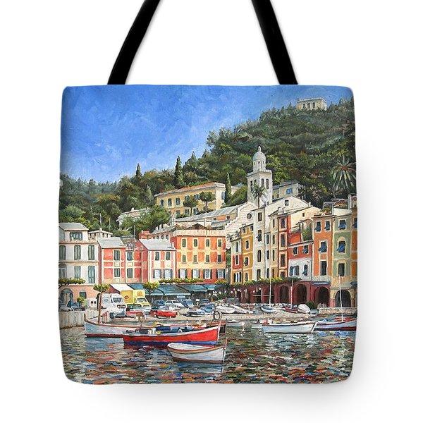 Portofino Italy Tote Bag by Mike Rabe