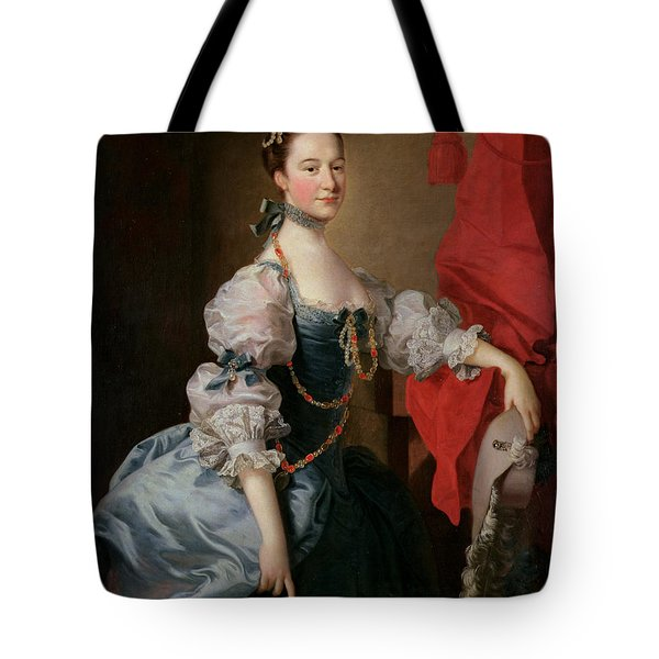 Portrait Of A Lady In A Blue Gown Tote Bag by Thomas Hudson