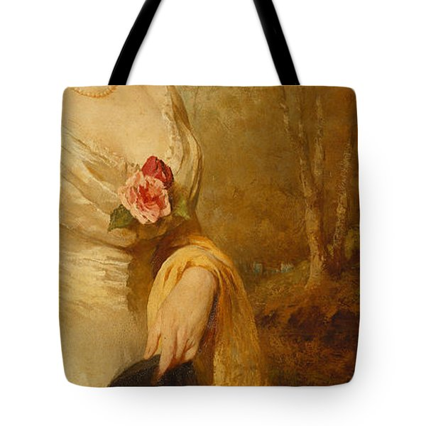 Portrait Of A Lady In A White Dress Tote Bag by George Elgar Hicks