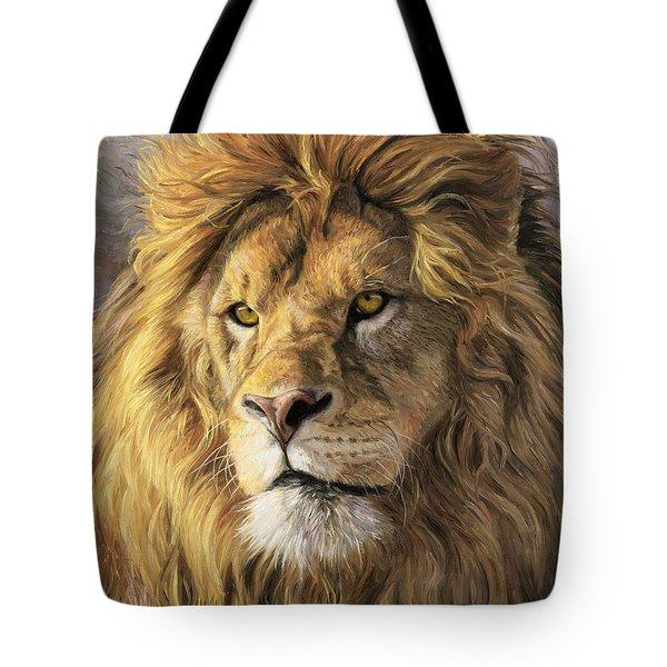Portrait Of A Lion Tote Bag by Lucie Bilodeau