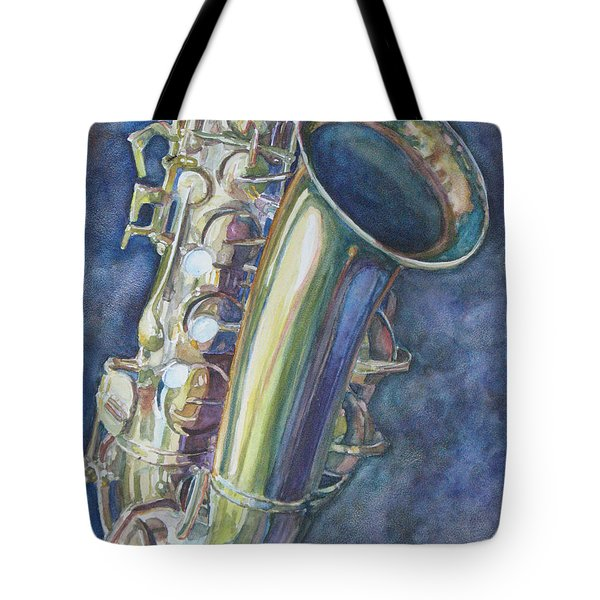 Portrait Of A Sax Tote Bag by Jenny Armitage