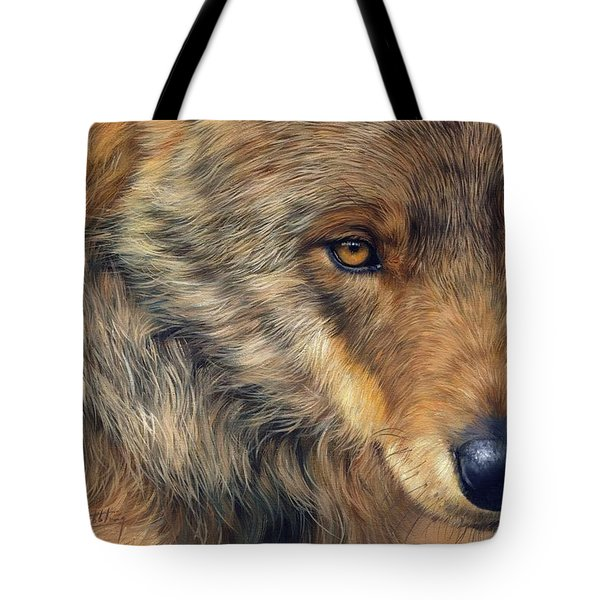 Portrait Of A Wolf Tote Bag by David Stribbling