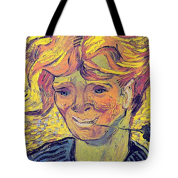Portrait Of A Young Man With Cornflower Tote Bag by Vincent Van Gogh
