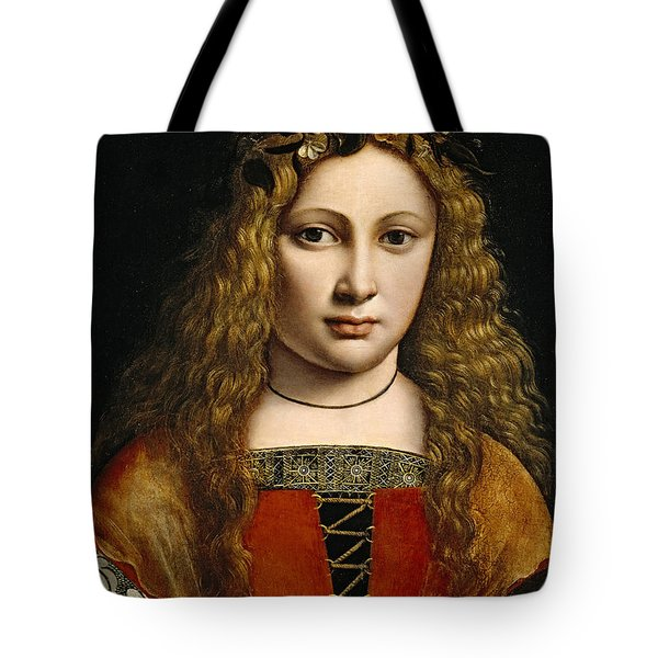 Portrait of a Youth Crowned with Flowers Tote Bag by Giovanni Antonio Boltraffio
