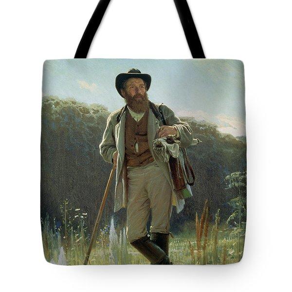 Portrait Of Ivan Ivanovich Shishkin Tote Bag by Ivan Nikolaevich Kramskoy