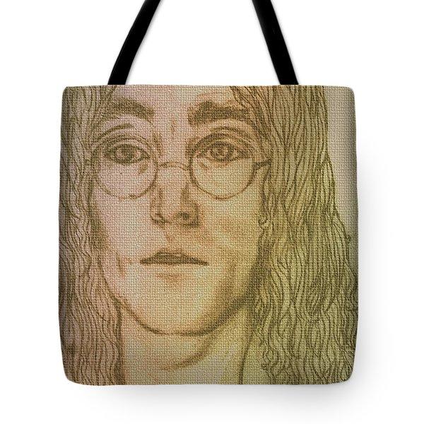 Portrait Of John Lennon Tote Bag by Joan-Violet Stretch