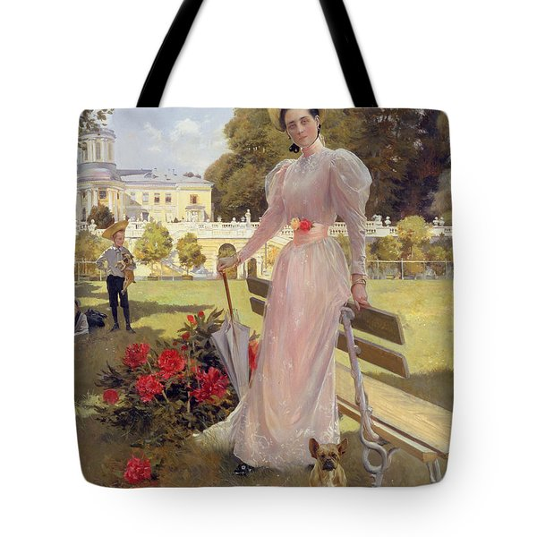 Portrait Of Princess Z.n Yusupova With Her Two Sons At Arkhangelskoe Tote Bag by Francois Flameng