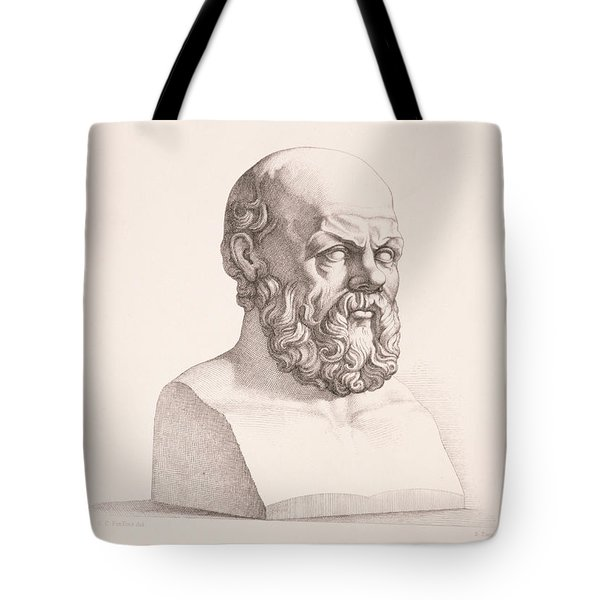 Portrait Of Socrates Tote Bag by CC Perkins