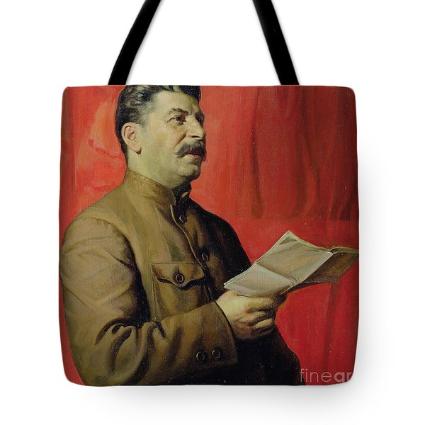 Portrait Of Stalin Tote Bag by Isaak Israilevich Brodsky