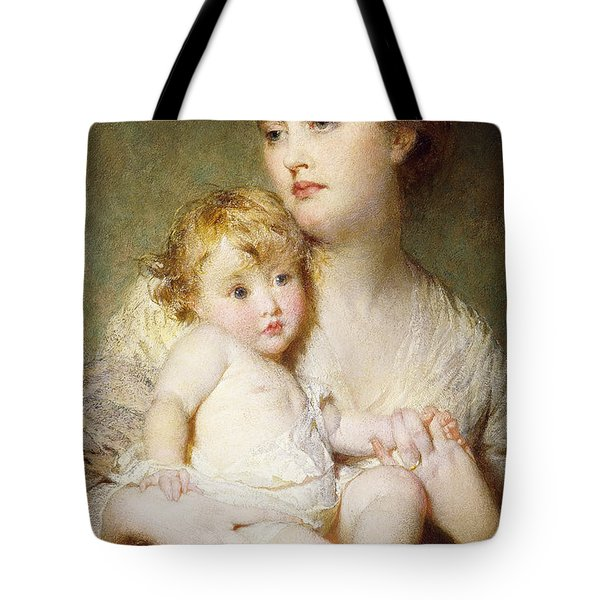 Portrait Of The Duchess Of St Albans With Her Son Tote Bag by George Elgar Hicks