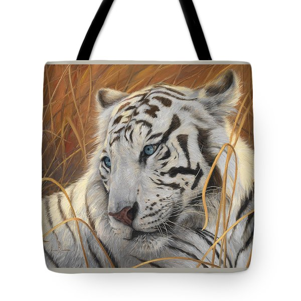 Portrait White Tiger 1 Tote Bag by Lucie Bilodeau