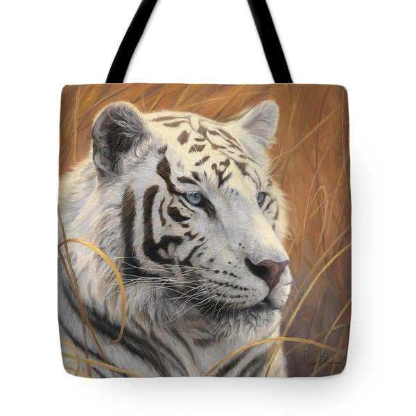 Portrait White Tiger 2 Tote Bag by Lucie Bilodeau