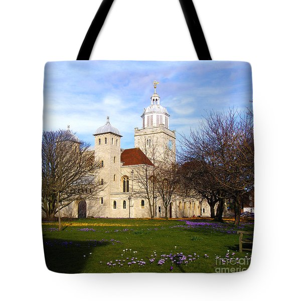 Portsmouth Cathedral at Springtime Tote Bag by Terri  Waters