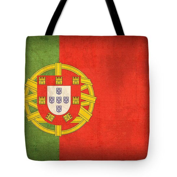 Portugal Flag Vintage Distressed Finish Tote Bag by Design Turnpike