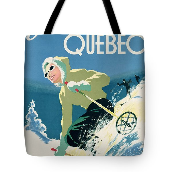 Poster Advertising Skiing Holidays In The Province Of Quebec Tote Bag by Canadian School