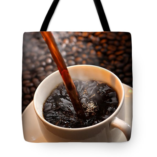 Pouring Coffee Tote Bag by Johan Swanepoel