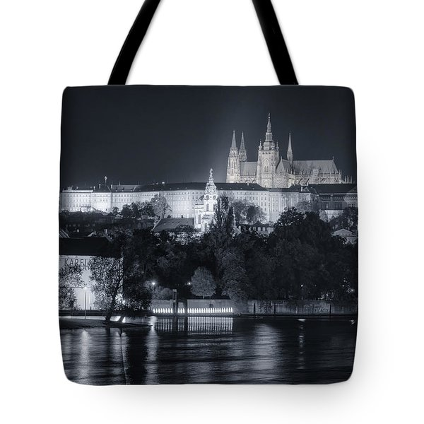Prague Castle At Night Tote Bag by Joan Carroll