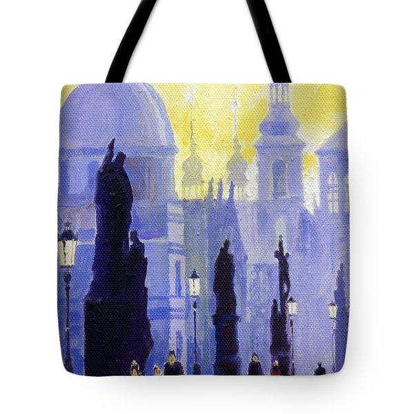 Prague Charles Bridge 03 Tote Bag by Yuriy  Shevchuk