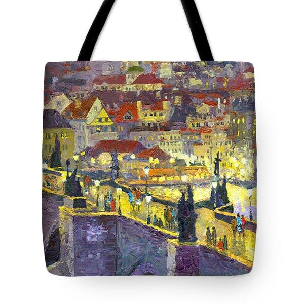 Prague Violet Panorama Night Light Charles Bridge Tote Bag by Yuriy Shevchuk