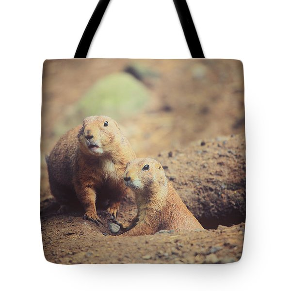 Prairie Dogs Tote Bag by Karol  Livote