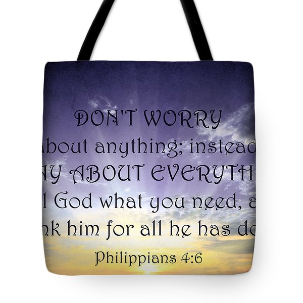 Pray About Everything 3 Tote Bag by Angelina Vick