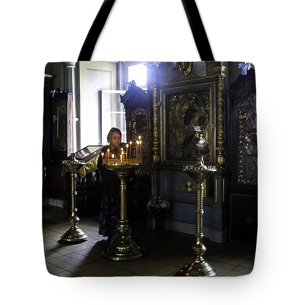 Praying At The Convent - Moscow - Russia Tote Bag by Madeline Ellis