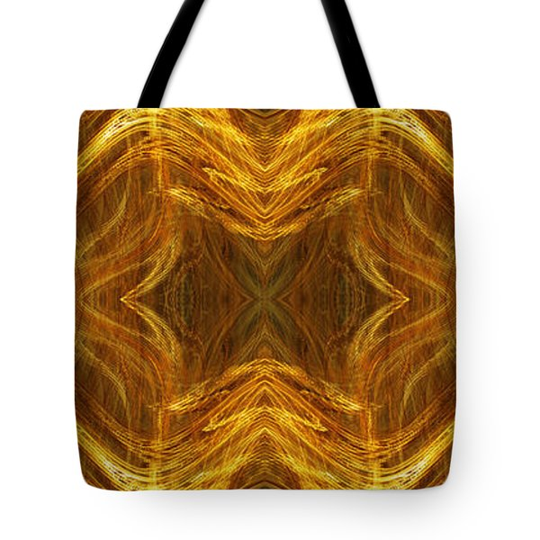 Precious Metal 3 Ocean Waves Dark Gold Tote Bag by Andee Design