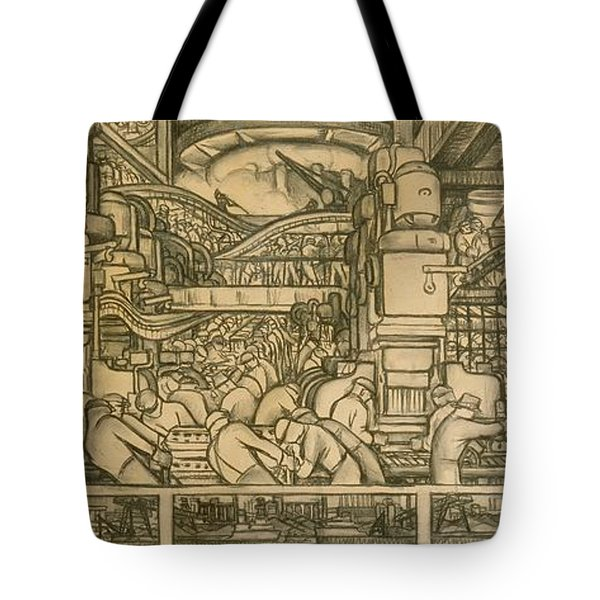Presentation Drawing Of The Automotive Panel For The North Wall Of The Detroit Industry Mural Tote Bag by Diego Rivera