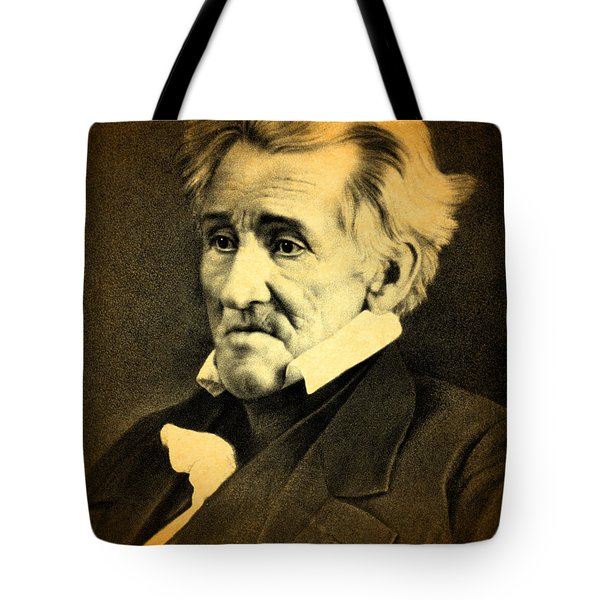 President Andrew Jackson Portrait And Signature Tote Bag by Design Turnpike