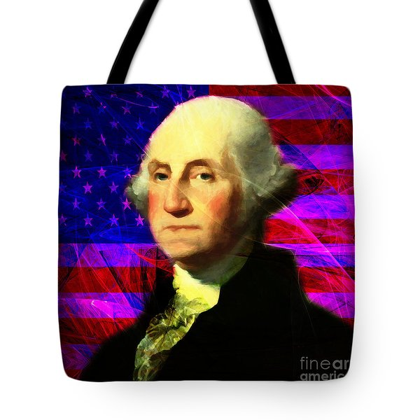President George Washington v2 m123 square Tote Bag by Wingsdomain Art and Photography