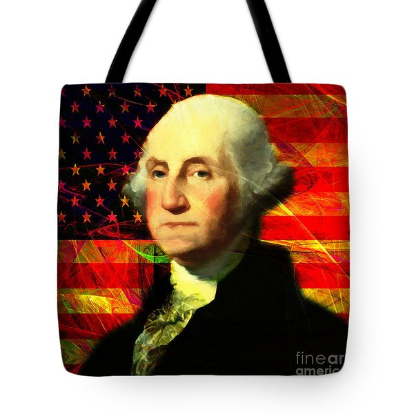 President George Washington V2 M20 Square Tote Bag by Wingsdomain Art and Photography