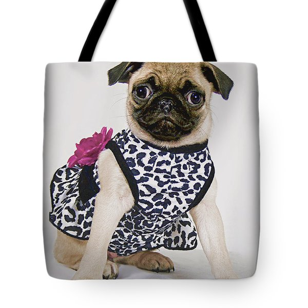Pretty Party Pug Tote Bag by Bonnie Willis