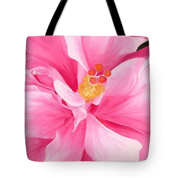 Pretty Pink Hibiscus Painting Tote Bag by Lisa Bentley