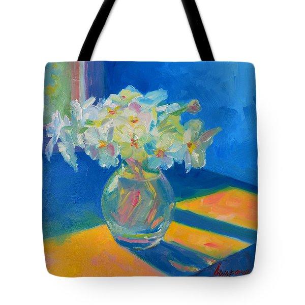 Primroses in Spring Light - Still Life Tote Bag by Patricia Awapara