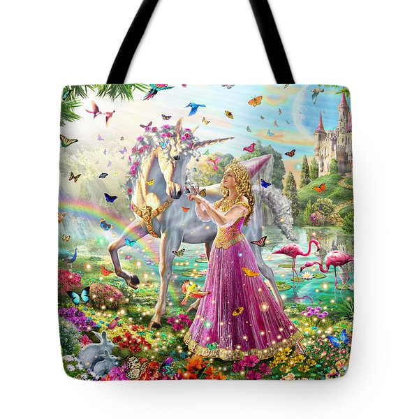Princess And The Unicorn Tote Bag by Adrian Chesterman